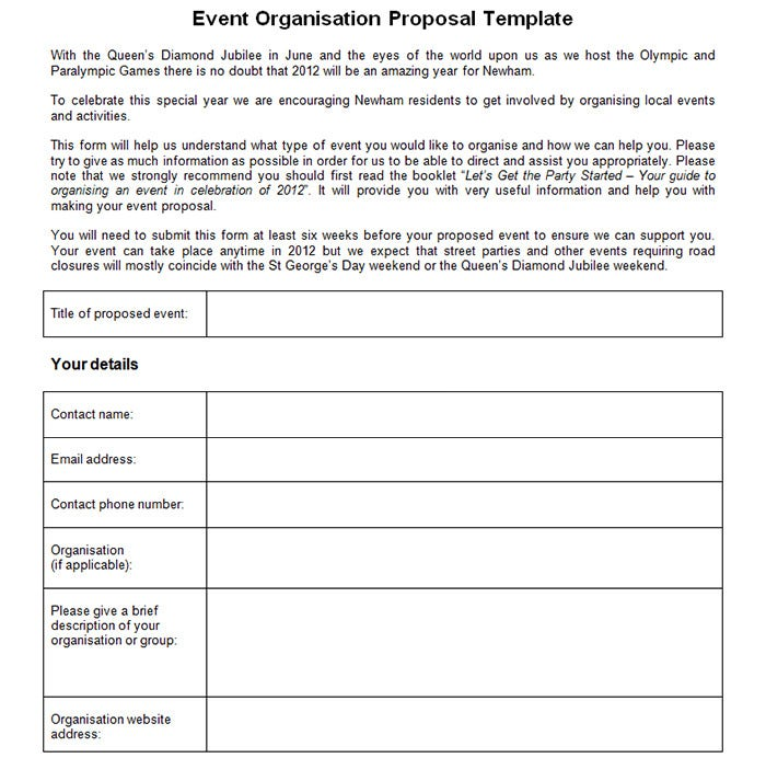 event organisation proposal template