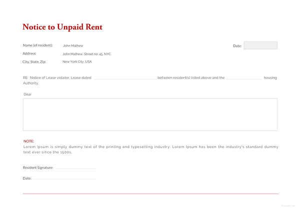 eviction notice for unpaid rent template