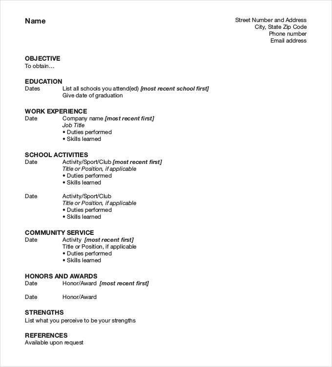 example of student resume format