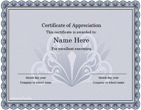 excellence award appreciation word template
