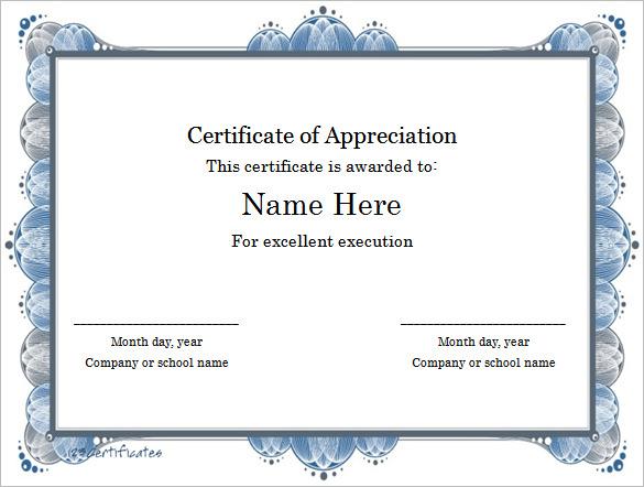 achievement certificate template word