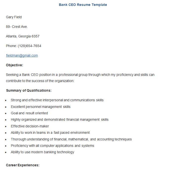 22 Sample Banking Resume Templates Pdf Doc Free