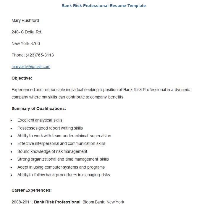 free bank risk professional resume template - Resume Example For Jobs