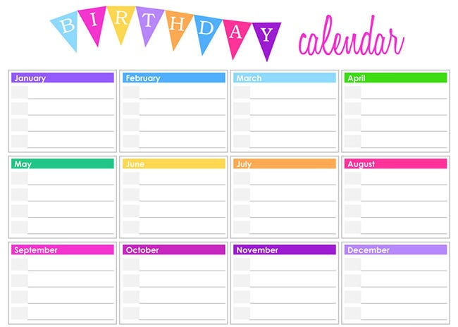 Birthday Calendar - Calendar Template