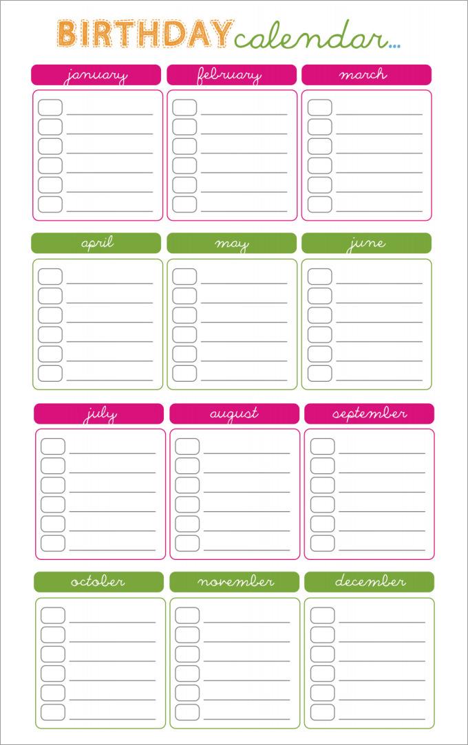 Birthday Calendar - Calendar Template