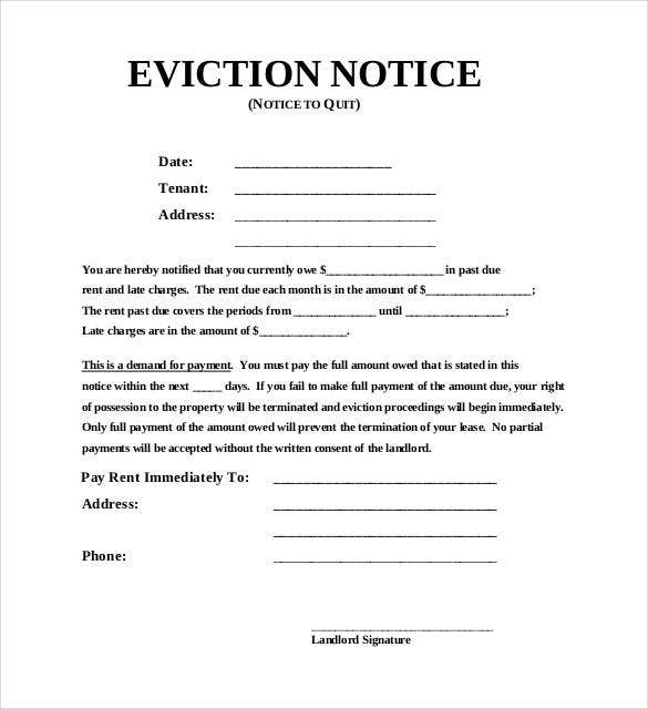Example Of A Blank Eviction Notice