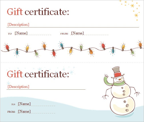 Free Christmas Gift Certificate Template Free Word DOC  Free Certificate Template For Word