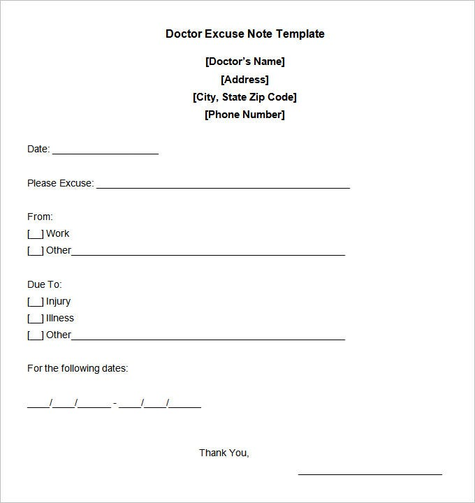 Printable Doctors Excuse Note for Work Template 95vzwg9k