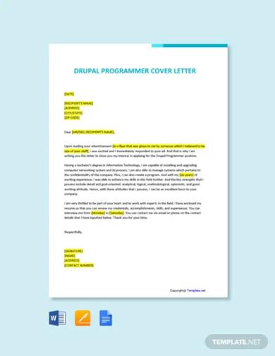 free drupal programmer cover letter template