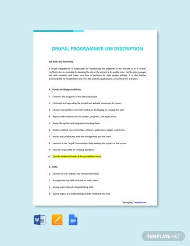 free drupal programmer job ad description template