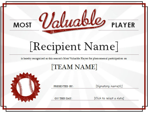 Free Most Valuable Player Award Certificate Word  Award Word Template