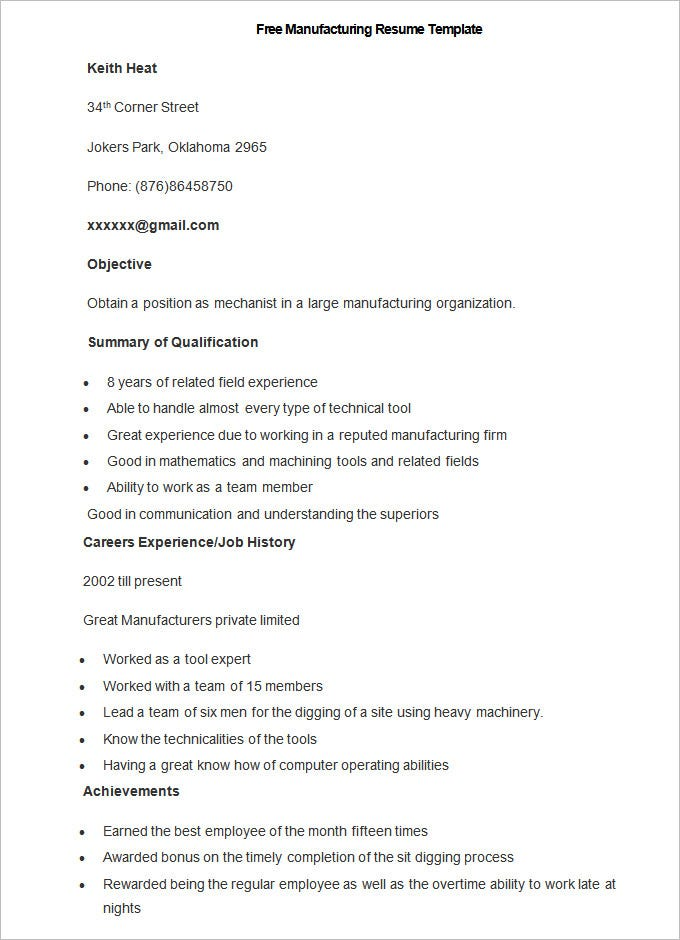 Captivating Free Sample Manufacturing Resume Template