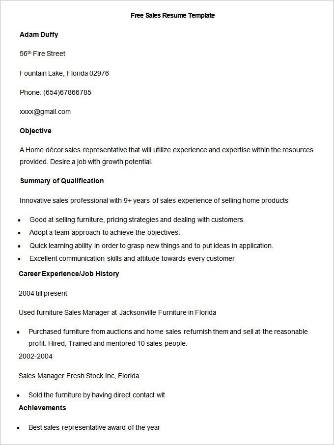 Superior Free Sample Sales Resume Template  Sales Resume Templates