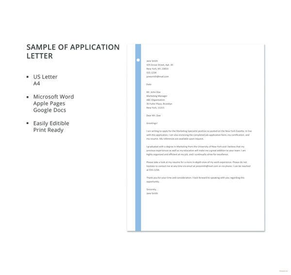 95 best free application letter templates samples pdf doc free sample of application letter template altavistaventures Gallery
