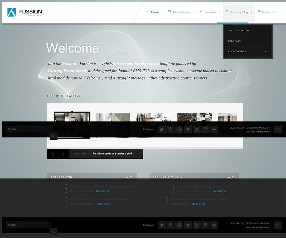 Fussion Creative full screen Joomla