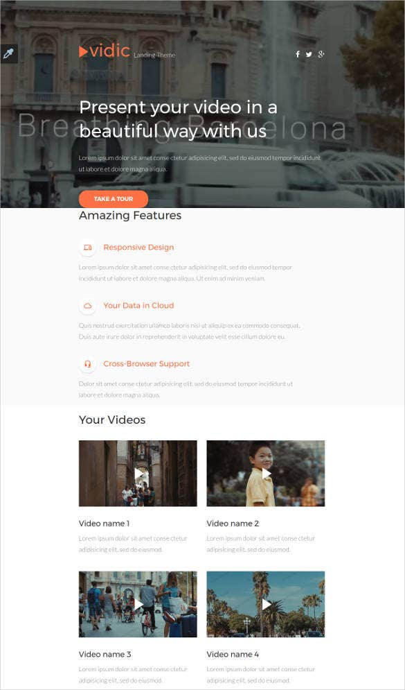 gallery responsive html 5 landing page template