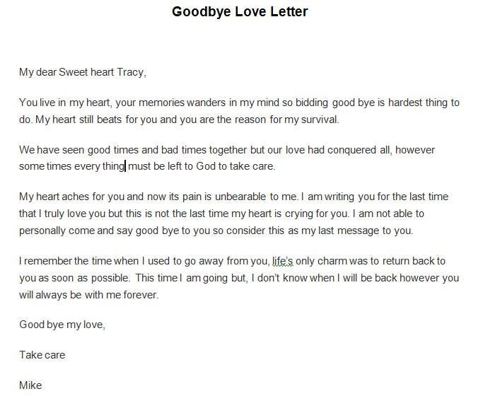 Goodbye Love Letter Sample