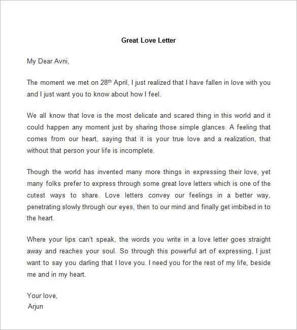 great love letter template