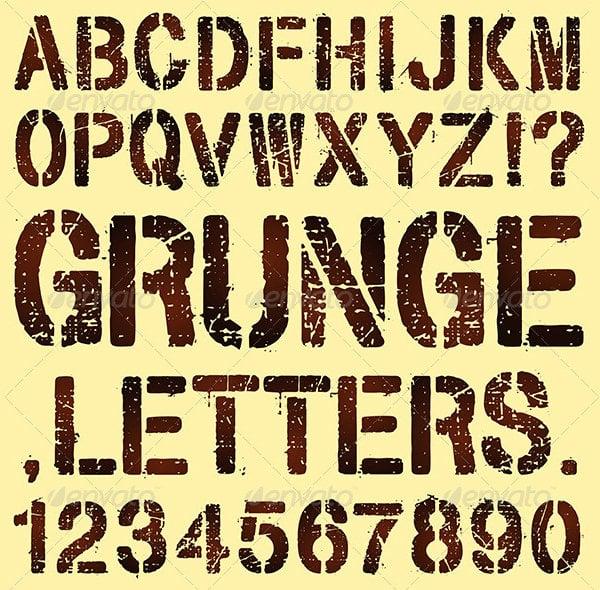 grunge stencil letters 2