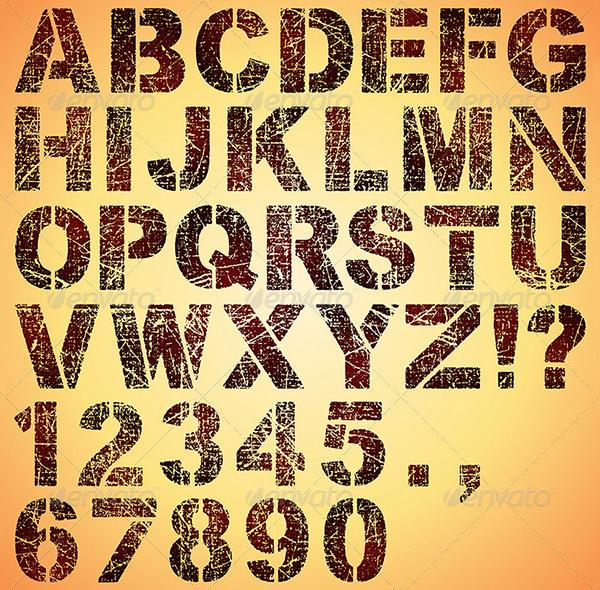 grunge stencil letters