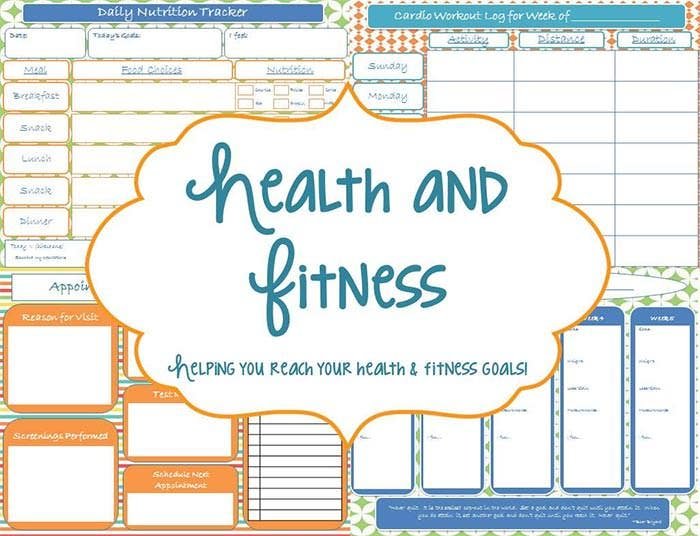 Declarative image regarding free printable fitness planner