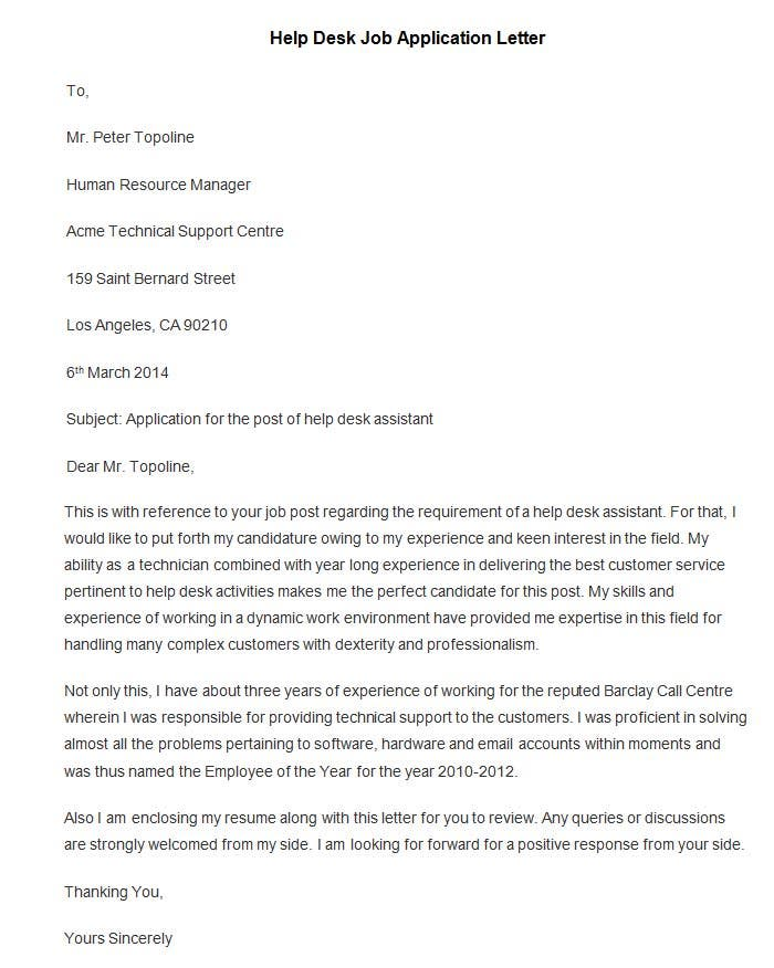 covering letter job application
