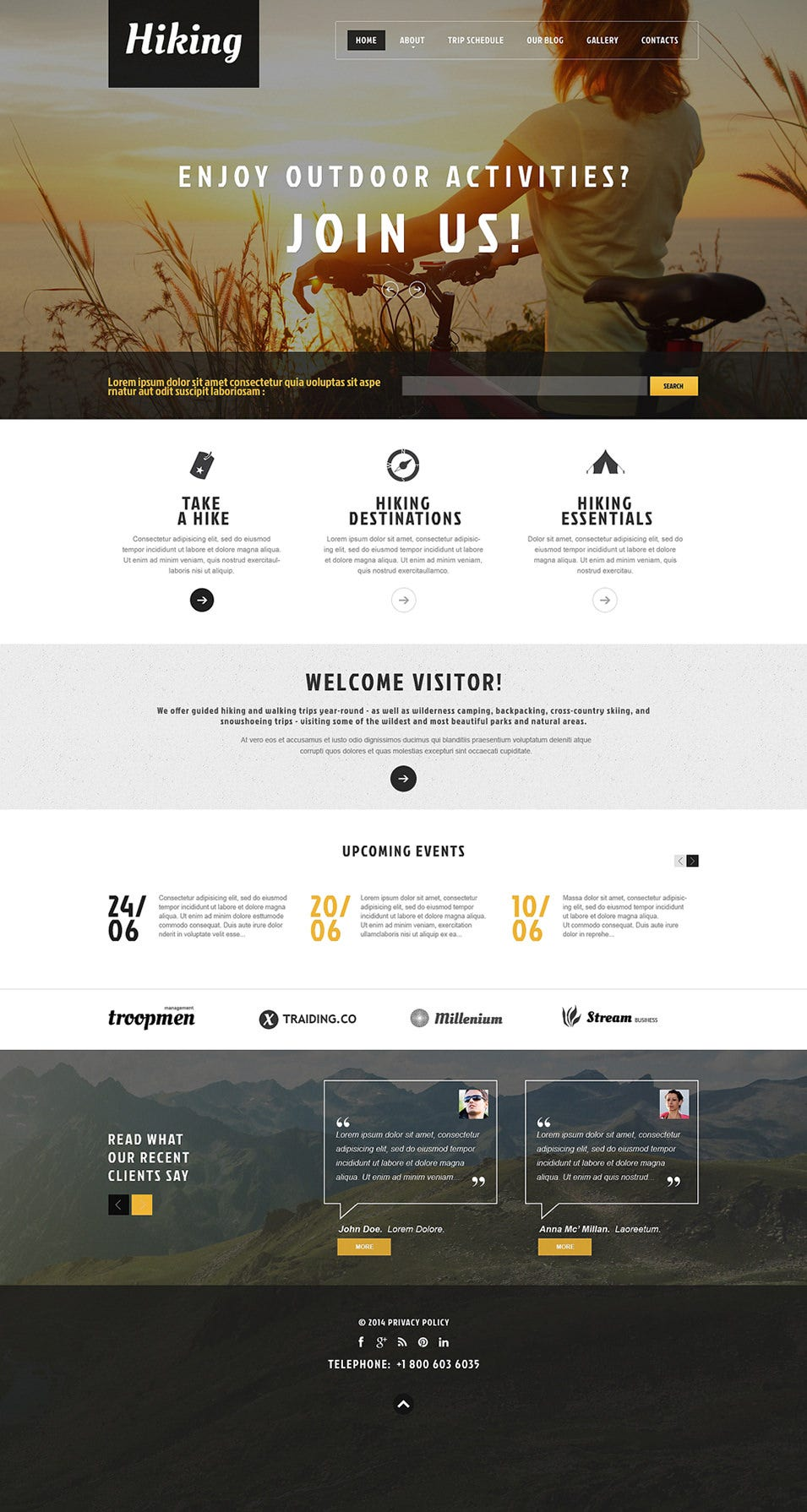 hiking club promotion wordpress theme