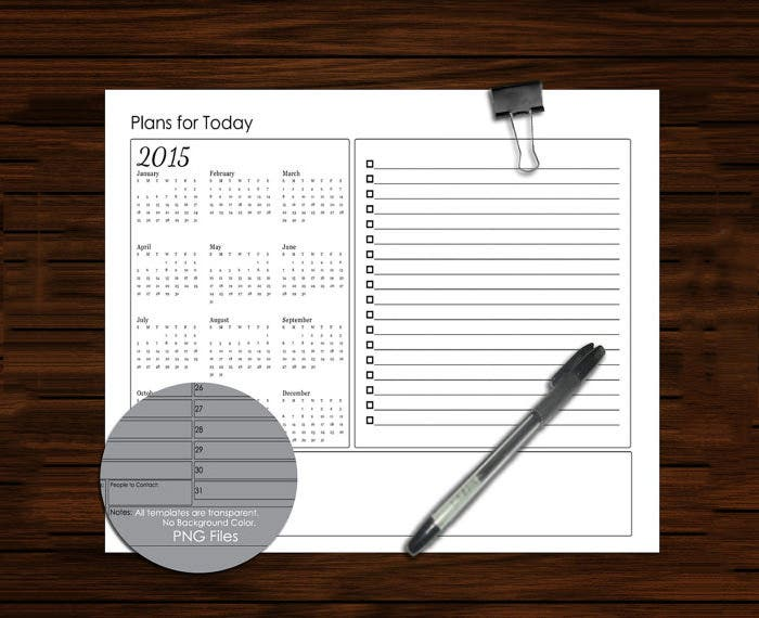 horizontal daily planner sheet