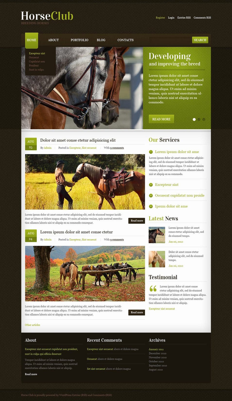 horse club wordpress theme1