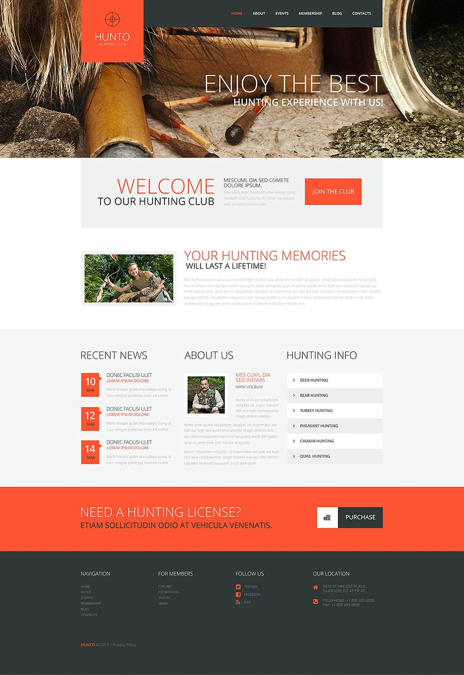 Hunting Club WordPress Theme