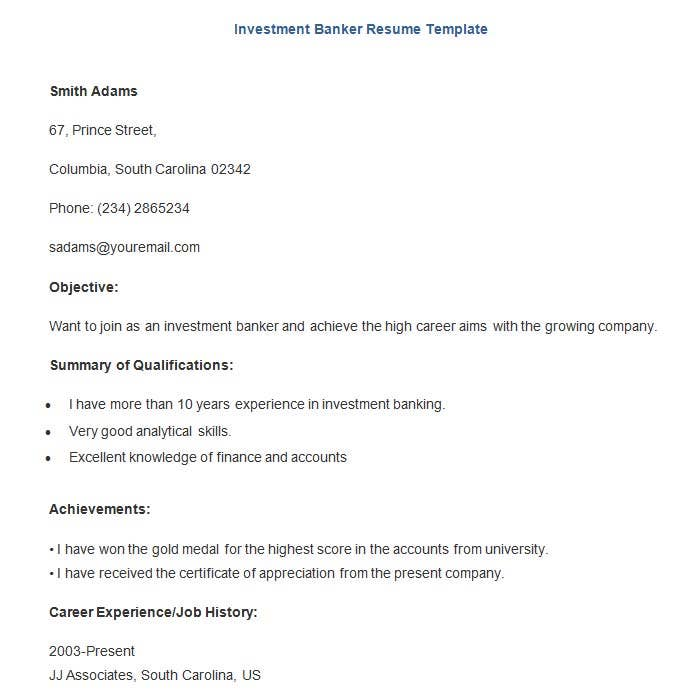 Investment Banker Resume Template Download