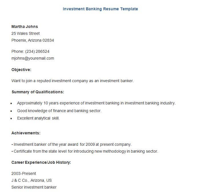 banking resume template free samples examples format - Investment Banking Resume Template