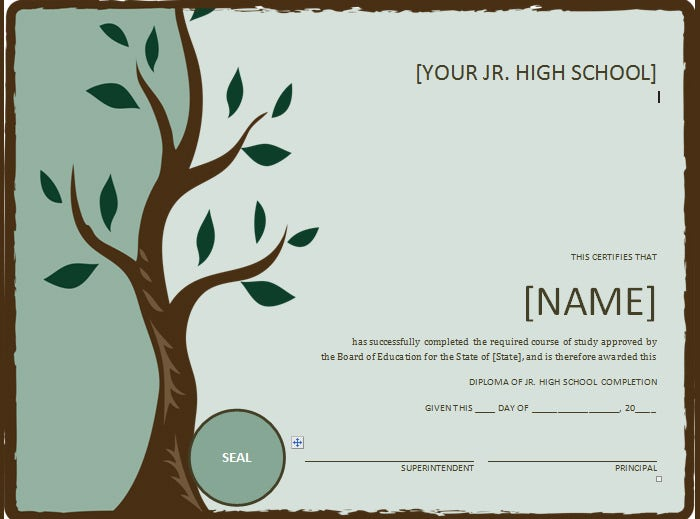 junior high school diploma with tree