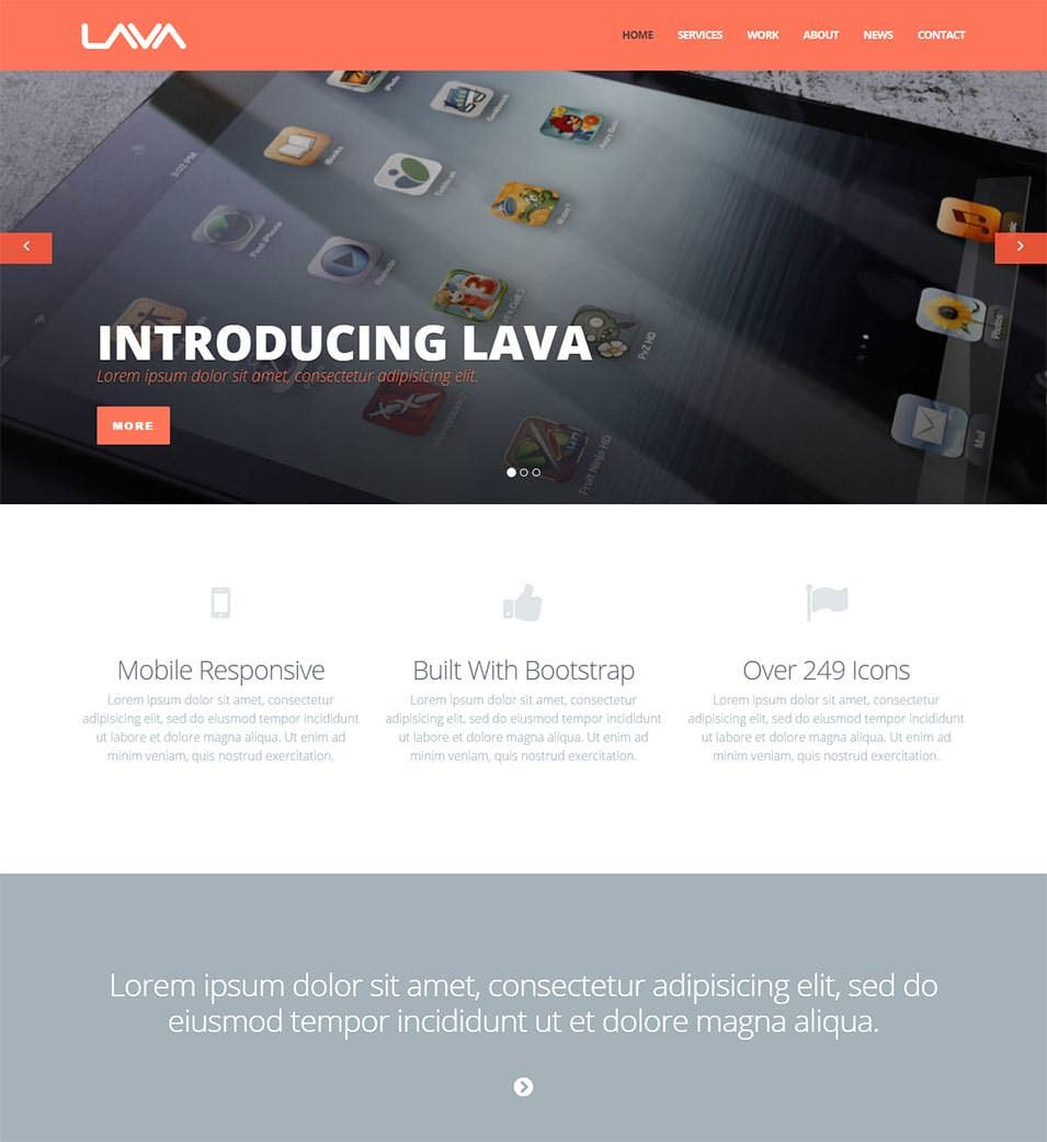 lava single multi page theme