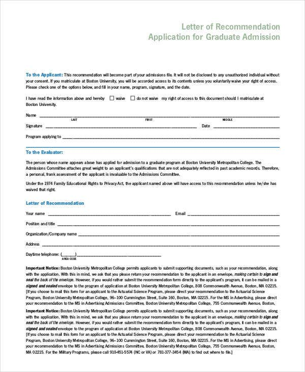 letter of recommendation application for graduate admission