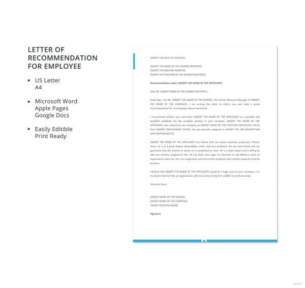letter of recommendation for employee template
