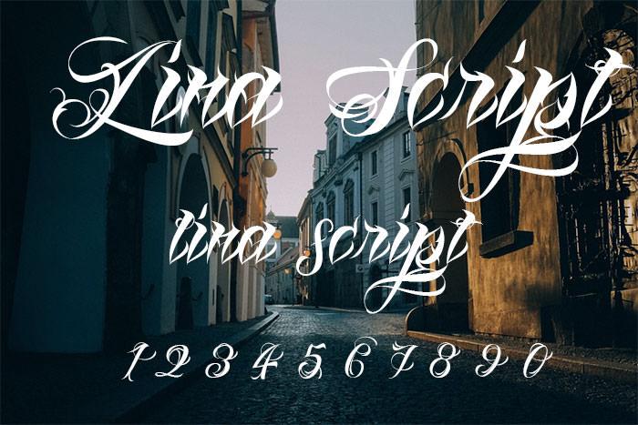 lina script demo tattoo font