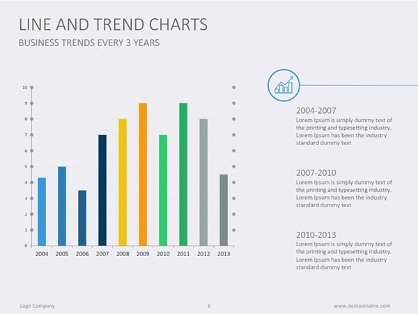 Line And Trends Excel Chart Template  Graphs And Charts Templates