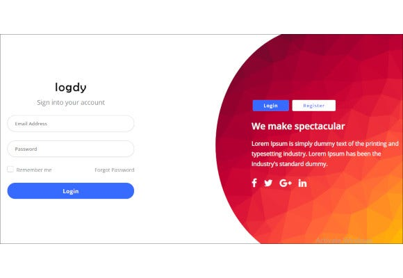 login and register html5 template