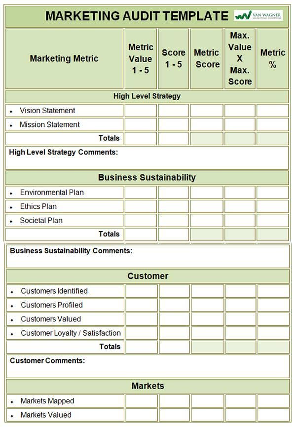 Marketing Audit Template  Free Word Excel Documents Download