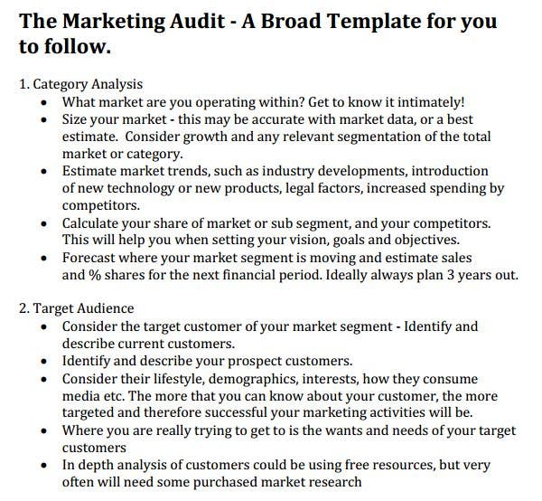 Marketing Audit Template - Free Word, Excel Documents Download