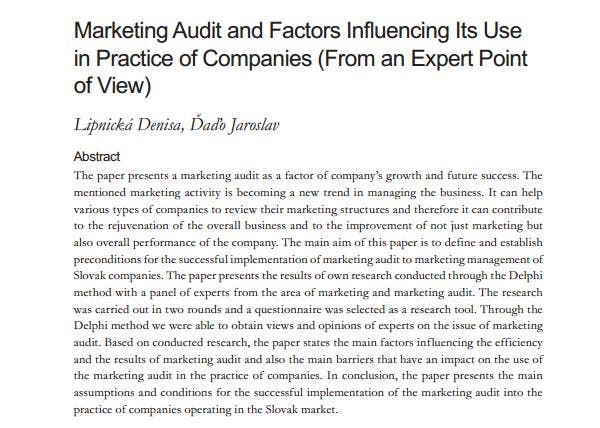 marketing audit and factors influencing its use