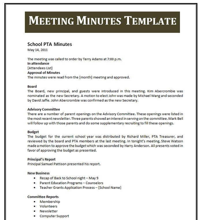 Photo : Meeting Note Taking Template Images