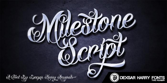 milestone script demo font