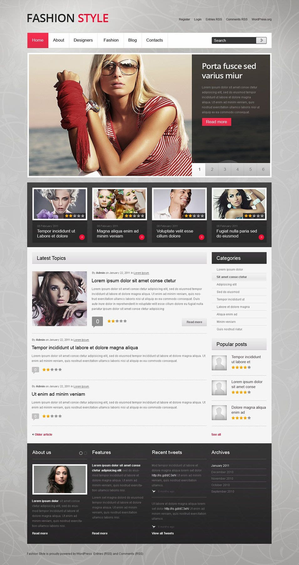 model agency wordpress theme3