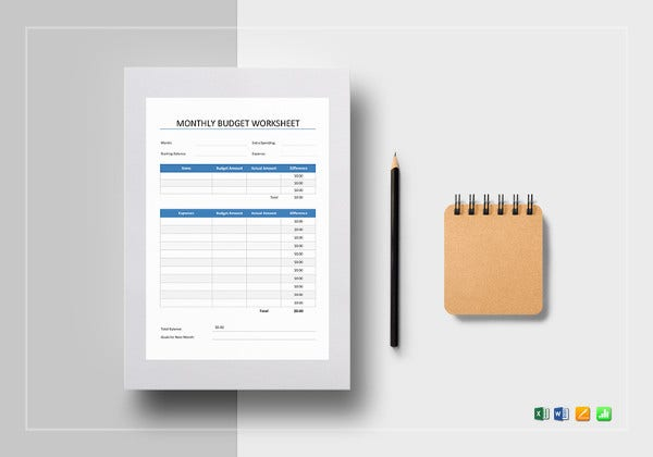 Monthly Budget Worksheet Excel Template