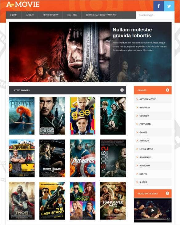 movie gallery blogger website template1