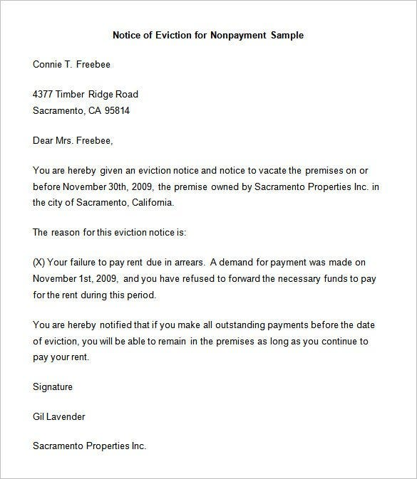 nonpayment eviction letter template