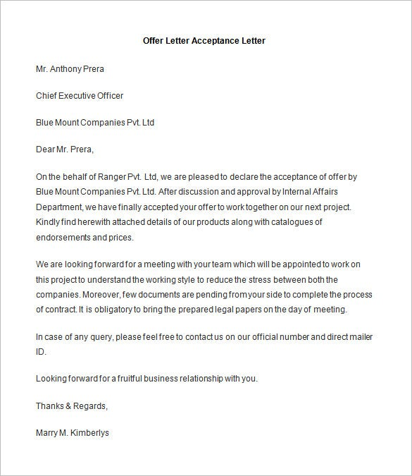 appointment letter acceptance copy right wisdom property – Offer Acceptance Letter