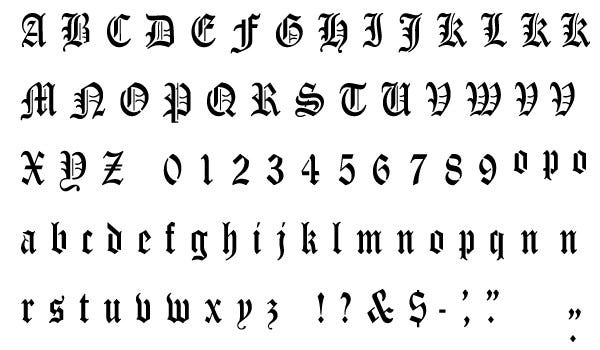 old english alphabet stencil